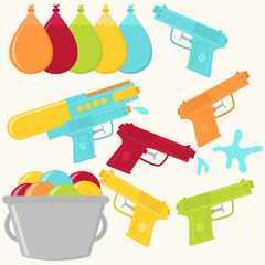 Vector Water guns and Water Balloons