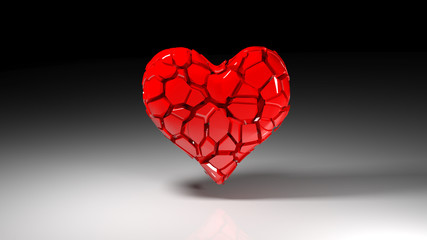 Broken heart on dark background