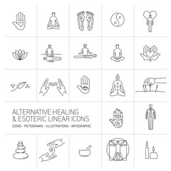alternative healing and esoteric linear icons set black on white
