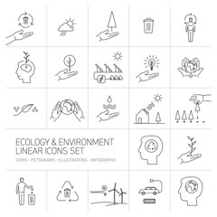 ecology and environment icons set on white background