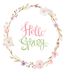 Hand drawn lettering Hello Spring in the oval frame.