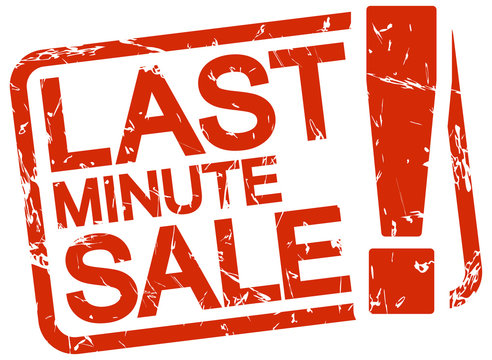 red stamp with text last minute sale !