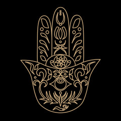 Elegant ornate hand drawn Hamsa. Hand of Fatima. Good luck and protection amulet in Indian, Arabic Jewish cultures. Ornamental vector illustration.Card with symbol of strength and happiness.
