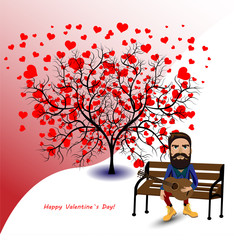 Man and love tree