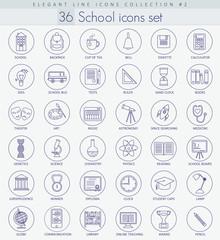 Vector school or university Outline icon set. Elegant thin line style design