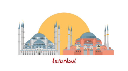 Istanbul banner illustration with Blue Mosque and Hagia Sophia