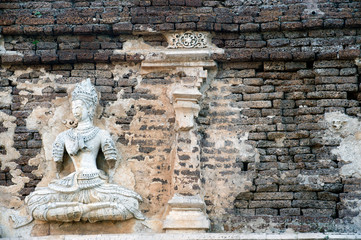 Thai art on The Chedi of Wat Chet Yot temple in Chaingmai,Thailand.