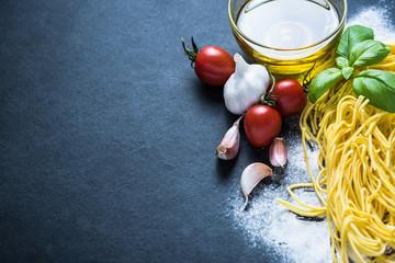 Food border background,homemade pasta