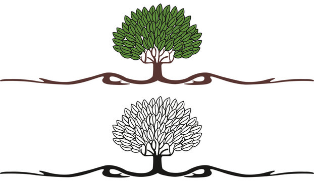 vintage stylish art nouveau tree in two versions