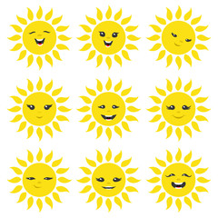 Cheerful sun on a white background