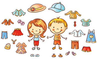 Summer clothes set for a boy and a girl, items can be put on