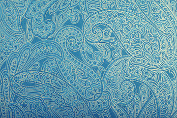 Vintage blue wallpaper with paisley pattern
