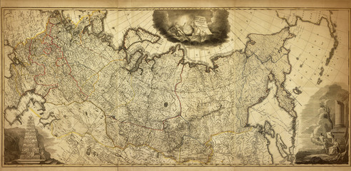 Old map of the Russia, printed in 1786