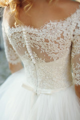 Elegant stylish vintage  white wedding dress with ornaments back
