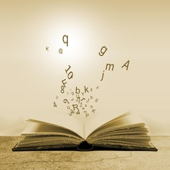 Open book with lightbulb and letters. Concept of the importance of reading. Sepia tones.