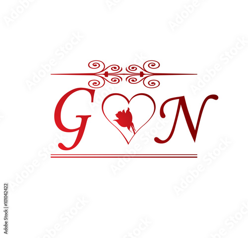 """Goldcorp Stock Quote: """"GN Love Initial With Red Heart And Rose"""" Stock Image And"""