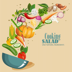 Cooking infographics. Fresh salad. Detailed Icon. Series of food and drink and ingredients for cooking.