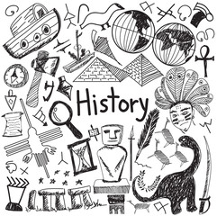 History education doodle icon of landmark location culture sign symbol white isolated background paper used for presentation title with header text, create by vector