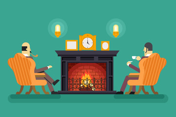 Gentlemen at Fireplace Tea Drink Evening Discussing Business Concept Icon Background Flat Design Vector Illustration