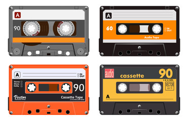 Collection of four plastic audio cassettes tape. Different colorful music tapes. Orange set. old technology, realistic retro design, vector art image illustration, isolated on white background eps10