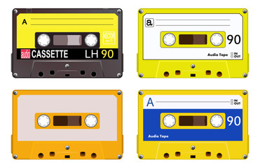 Collection of four plastic audio cassettes tape. Different colorful music tapes. Yellow set. old technology, realistic retro design, vector art image illustration, isolated on white background eps10