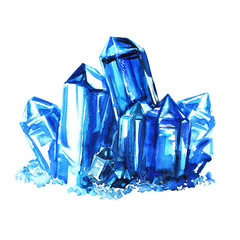 Blue amethyst crystals stones isolated