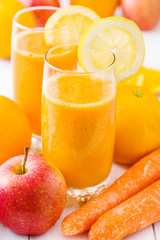 smoothie with carrots,apple and orange