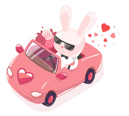 Vector illustration of pink bunny riding in red car with a bouqu