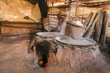 mountainous Salt ,ancient salt at Amphoe Bo Kluea ,Nan province , Thailand