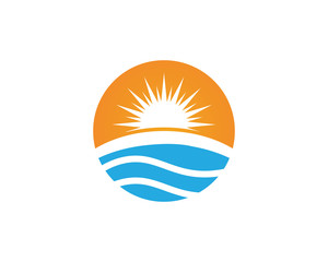 Sunset beach wave logo