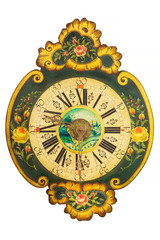 Ornamental eighteenth century wooden clock with flower pattern