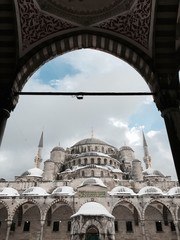 blue mosque in snow