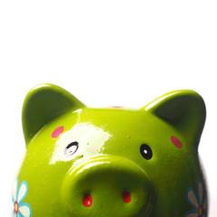 Close up of a green piggy bank