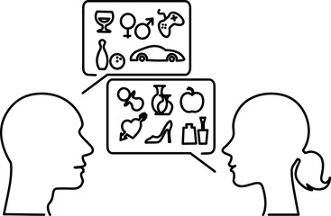 Gender stereotypes. Male and female monoline profiles with speech bubbles filled with symbols of typical men's and women's interests, vector illustration