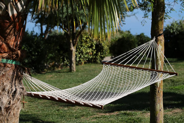 White hammock made of netting