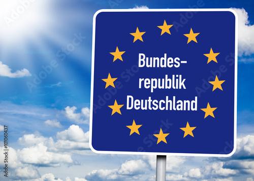 Schild Mit Bundesrepublik Deutschland, Grenze, Grenzkontrolle, Schengen