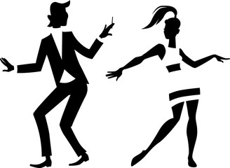 Wall Mural - Black vector silhouette of a mod couple dancing, EPS 8, no white objects