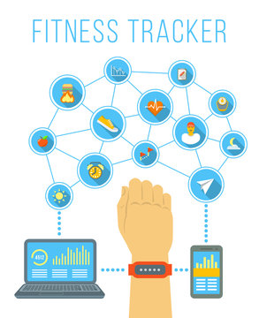 Fitness tracker flat vector infographic. Hand with bracelet wireless device for monitoring sport activity, burning of calories, distance, steps, heartbeat. Data exchange with computer and smartphone