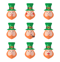 Set of Leprechaun avatars with emotions