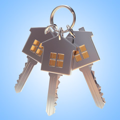 Bunch of three silver house-shape keys on a key ring on blue background