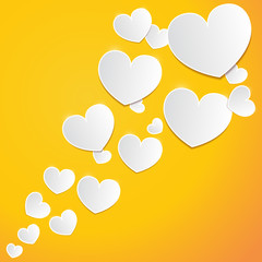 Abstract white paper hearts on orange background. Vector eps10 illustration
