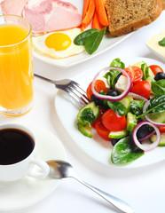 breakfast salad  vegetables fruit food isolated on white background