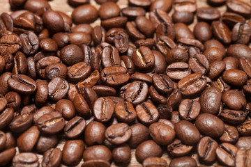 Coffee beans texture for background. Selective focus