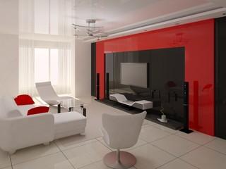The original living room has a modern design interera.