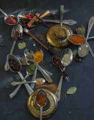 spices in the spoons on black background