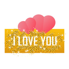 Valentines day card on 14 February. I love you. Gold background