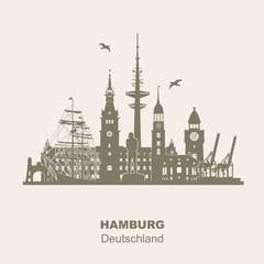 Hamburg Skyline Orientierungspunkte Dock Hafen Rathaus Störtebeker Landungsbrücken Michel Rickmer Rickmers Elbebrücke Fernsehturm Panorama Silhouette