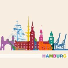 Hamburg Skyline bunt Rathaus Störtebeker Hafen Doks Kräne Landungsbrücken Michel Rickmer-Rickmers Elbebrücken bunt Logo Sehenswürdigkeiten