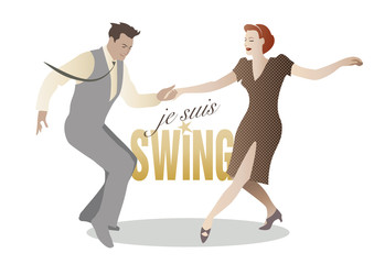 Elegant couple dancing swing. (Je suis swing. I'm swing)