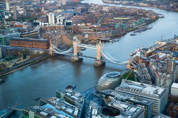 LONDON, UK - JANUARY 27, 2015: Tower bridge and River Thames at sunset